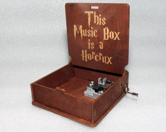 "Harry Potter - This Music Box Is A Horcrux - Engraved Wooden Music Box - ""Harry's Wondrous World"" - Hand Crank Movement"