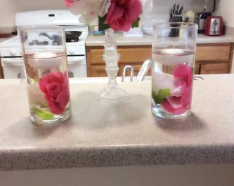 Flower and floating candles centerpiece