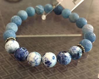 Man stones of mast and facets blue Agate bracelet