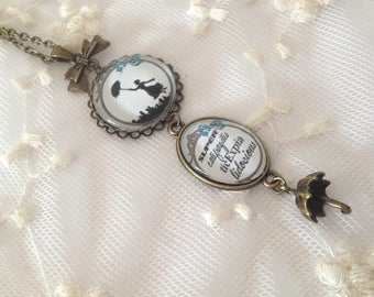 Mary Poppins blue cameo necklace.