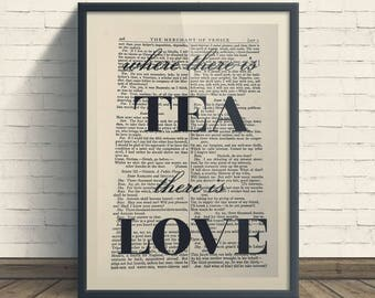 Cup of Tea and Love - A4 Art Print On Old Book Page, Home, Kitchen, Tea & Coffee