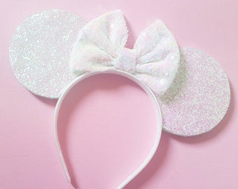 Irredescent Glittery White Mouse Ears || Minnie Mouse Ears || Mickey Mouse Ears|| Mouse Ears Headband ||Bride Mouse Ears