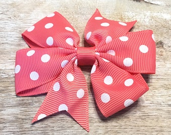 Watermelon Pink and White Polka Dot Grosgrain Ribbon Bow, Alligator Clip, Barrette, 3 inches wide, Hair bow, Girls