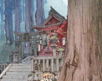 "Japanese Art Print ""Misty Day in Nikko"" by Yoshida Hiroshi, woodblock print reproduction, shrine, cultural art, forest, Japanese cedar trees"