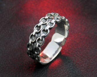women's silver ring, chain ring, sterling silver ring, silver knot ring, silver Celtic ring, sterling silver ring, gift for her women's ring