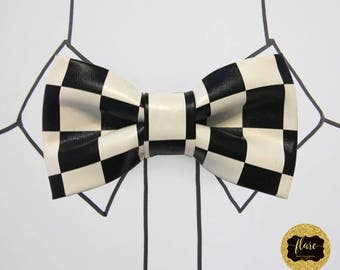 The Andretti Bow Tie:Men's Fashion Accessory with Unique Black and White Pattern. Perfect for Weddings, Formals, Prom and Special Occasions.