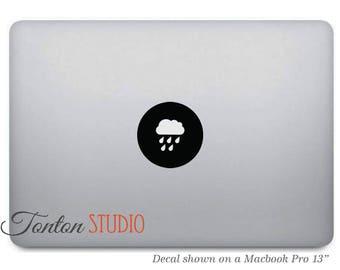 Rain Cloud Macbook Decal / Raining Macbook Sticker / Rainy Cloud Decal / Notebook Laptop Dot Round Circle Icon Removable Vinyl Decal - T015