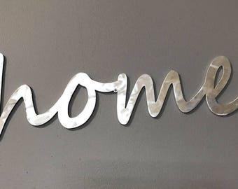 Home Sign Aluminum Script Home Wall Decor