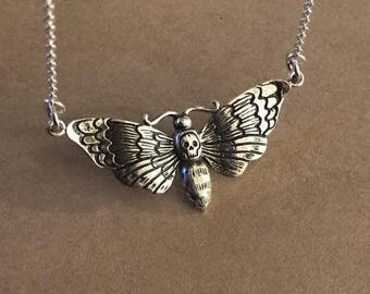 Deaths Head Moth Necklace - Sterling Silver