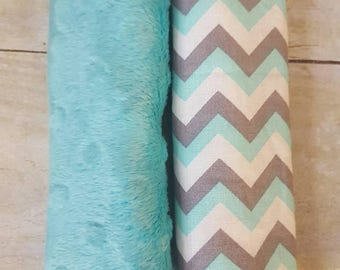 teal, gray, and white chevron reversible car seat strap covers, car seat strap covers, baby car seat strap covers