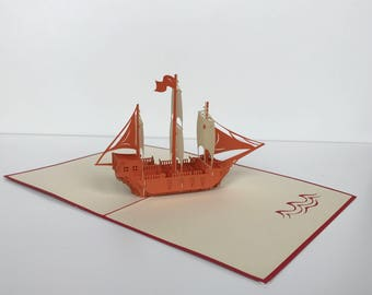 Hand-made Pop-up Kirigami boat card
