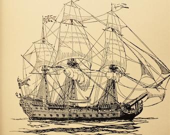 Vintage Nautical Ship Illustration Antique Boat Drawing Eighteenth Century Seventy Four Gun Ship