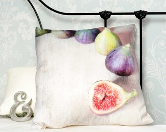 Cushion, Figs, photo image on front, white to rear 100% cotton decorative pillow, 46cm x 46cm