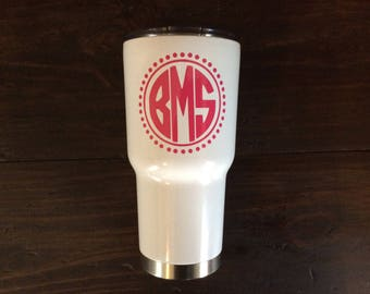 YETI Monogram Decal, Circle Monogram, YETI Decal for Women, Vinyl Cup Decal, Yeti Decal, Yeti Decal for Women 30 oz, Yeti Monogram Decal