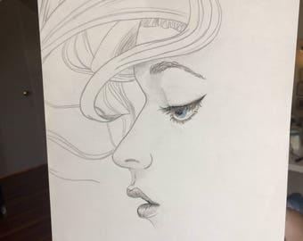 Graphite Sketch ~ Girl Profile