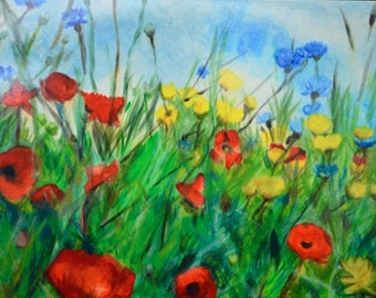 """A6 """"Poppies"""" Glossy Greeting Card Blank Inside with White Envelope"""