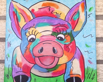 Whimsy colorful radical pig