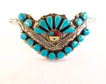 Vintage Zuni Petit Point Turquoise and Inlay Cuff Bracelet Sterling Silver Native American Jewelry