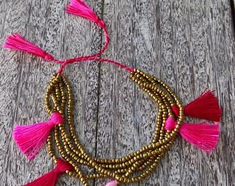 Beaded bracelet with tassels, Boho bracelet,beaded tassel bracelet.