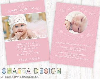 Pink 5x7 Birth Announcement for Photographers PSD Flat card