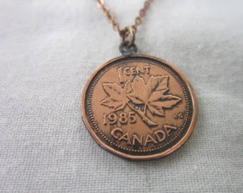 Vintage Copper Chain Necklace with Copper Canadian Penny Pendant
