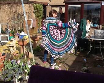 Handmade crocheted mandala cardigan/ jacket.