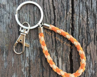 Orange Suede Keychains,Keyring,Handmade keychains,Key fob,Key holder,Bag charms,Accessories
