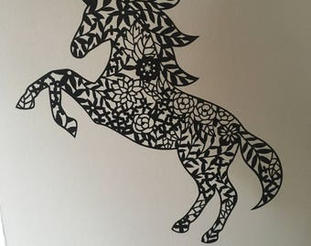 Mrs Unicorn Paper Cut Paper Cutting Art