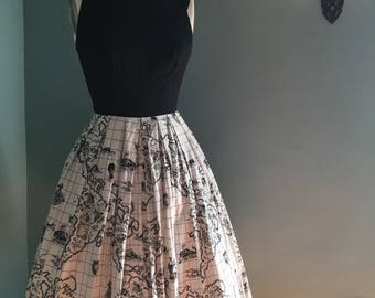 1950's Vintage Marjae of Miami Novelty Print Fit and Flare Sundress with a Black and White Skirt with a Map of the World