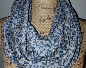 Blue and grey infinity scarf cotton polyester mix