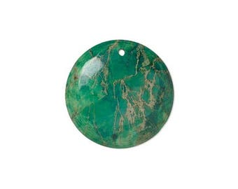 Focal gemstone component, magnesite dyed, magnesite turquoise green 40mm, hand-cut  flat round 40mm with hole of 1.5mm magnesite.