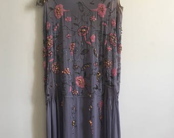 Rare Vintage Silk Beaded Dress 1920s