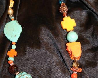 Turquoise Orange Yellow Multi Stone