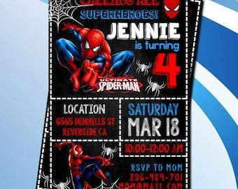 Spiderman Birthday Invitation,Superheroes Birthday Invitation,Printable Spiderman Invitation