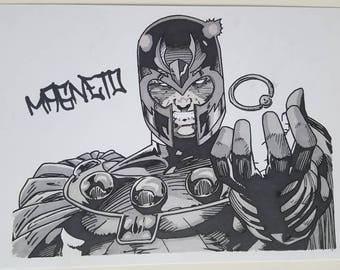 Magneto the Body Piercer. Marvel Fanart Original A5 Drawing
