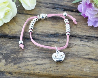 Personalised Pink Suede Bracelet With Heart