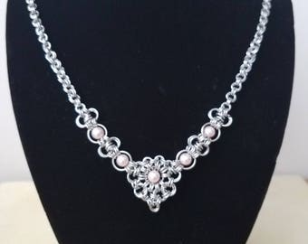 Chainmaille Stainless Steel  & Beaded Necklace