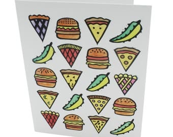 Brooklyn greeting card, take out card, New York card, fast food blank card, burger pie pizza pickle blank greeting card, Brooklyn range