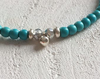 Bracelet with turquoise/blue beads, 925 sterling silver beads and 925 sterling silver bead and conclusion