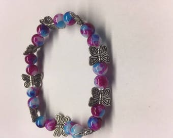 Multi-color Butterfly Beaded Bracelet