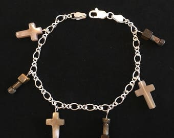 Sterling silver bracelet with natural stone charms crosses brown tan