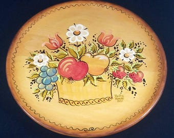 Vintage Tole Painted Wood Tray