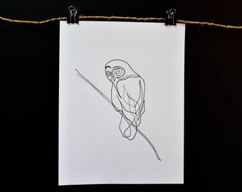 Single Line Drawing - Owl