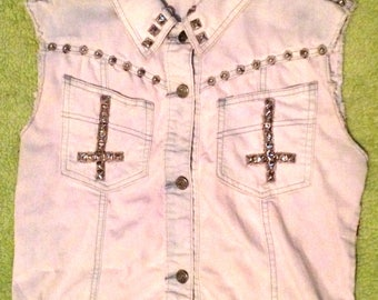 Studded Denim Vest with Princess Fabric