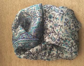 The shaded blue silk scarf