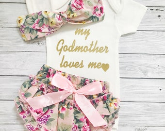 Goddaughter Gift, My Godmother Loves Me, Baby Shower Gift, Baby Girl Bodysuit, Godmother Gift, God Daughter Gift, Baby Girl Bodysuits