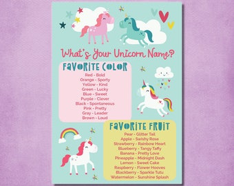 Unicorn Name Game what's your unicorn name game printable unicorn game unicorn party unicorn birthday game pdf file - instant download