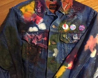Dyed and bleached vintage denim jacket