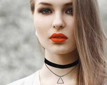 Black velvet choker with triangle pendant