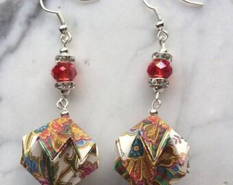 Earrings with Origami lantern